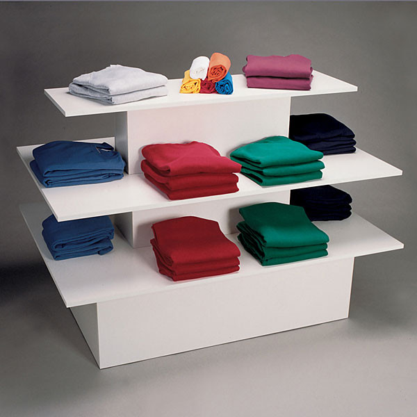 3-tier table rectangle - white