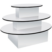 "3-tier table oval 60""lx40""hx44""w white with black T-molding"