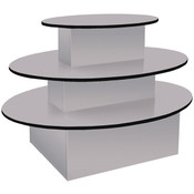 "3-tier table oval 60""lx40""hx44""w gray with black T-molding"
