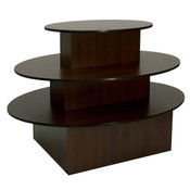 """3-tier table oval 60""""lx40""""hx44""""w chocolate cherry with black T-molding"""