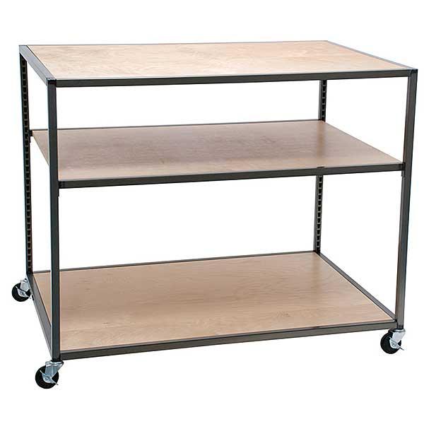Rolling 3 shelf table - Raw steel / clear coat