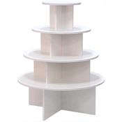 4-tier round table - white melamine