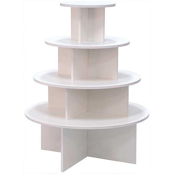 4 Tier Round Table White Melamine, 3 Tier Round Display Table