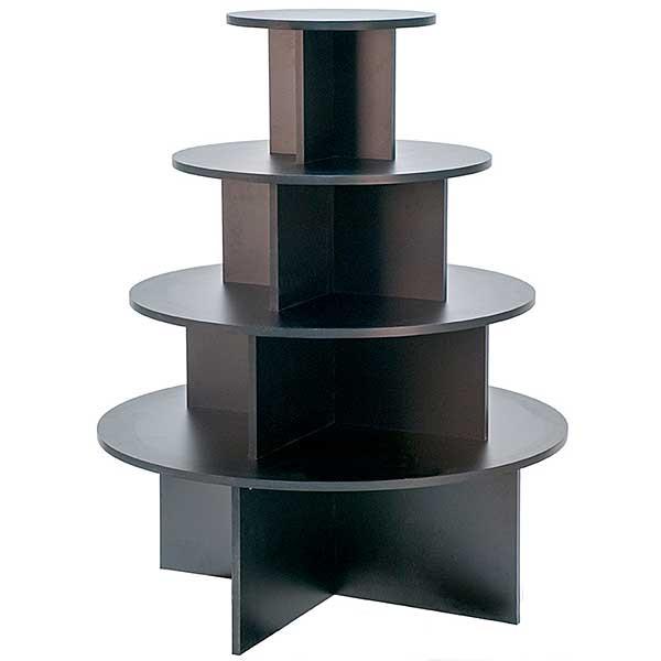 4-tier round table - black melamine