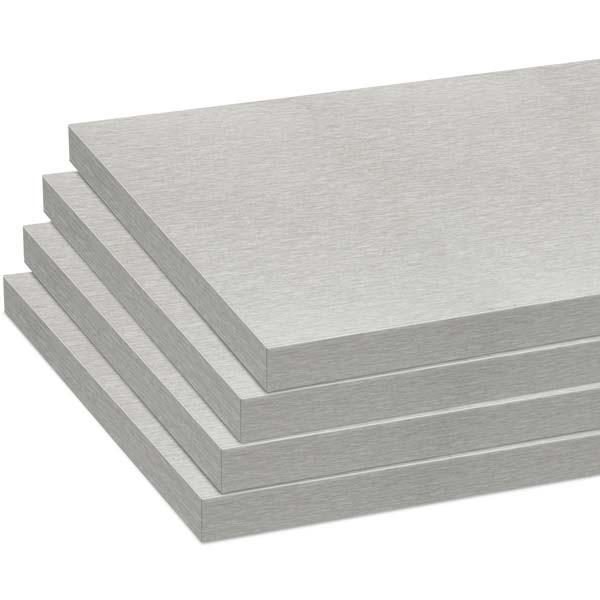 Melamine shelves 8 x 20 - Brushed Aluminum - pack of 4